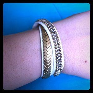 Stella & Dot Gilded Path Bracelet White & Gold
